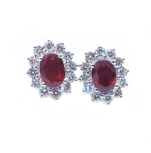 Classic Oval Ruby & Diamond Earrings - Johnny Jewelry