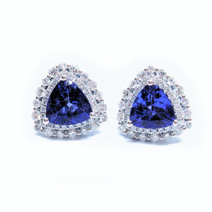Trillion Cut Tanzanite & Diamond Halo Earrings - Johnny Jewelry