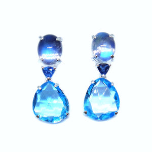 Ocean Blue Topaz & Moonstone Earrings - Johnny Jewelry