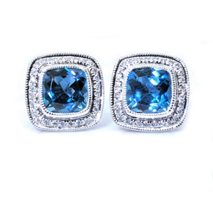 Pave Cushion Blue Topaz and Diamond Halo Studs - Johnny Jewelry