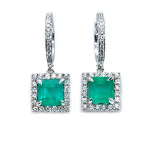 Classic Emerald & Diamond Drop Earrings - Johnny Jewelry