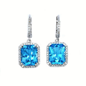 Classic Emerald Cut Blue Topaz & Diamond Drop Earrings - Johnny Jewelry