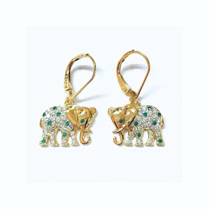 Emerald & Diamond Elephant - Johnny Jewelry