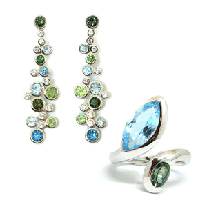 Green Tourmaline & Blue Topaz