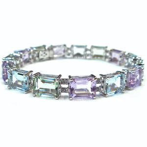 Green and Pink Amethyst & Aquamarine Bracelet - Johnny Jewelry