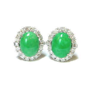 Jade & Diamond Earrings - Johnny Jewelry