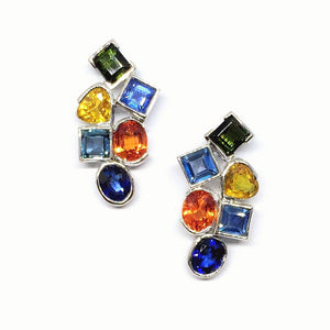 Mosaic Multi Color Sapphire Earrings