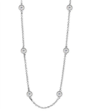 Bezel Set Diamond Cut Sixteen Diamond Station Necklace - Johnny Jewelry