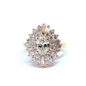 Oval Solitaire with Round and Baguette Diamonds - Johnny Jewelry