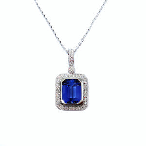 Art Deco Tanzanite & Diamond Pendant