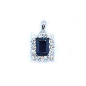 Classic Sapphire & Diamond Pendant - Johnny Jewelry