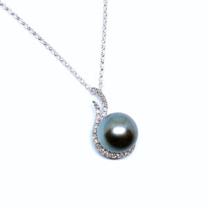 Swirl Black South Sea Pearl Pendant - Johnny Jewelry