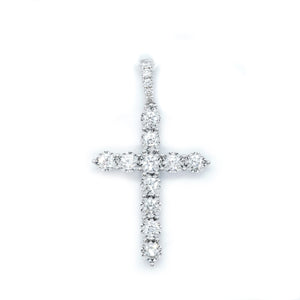 Classic Diamond Cut Diamond Cross Pendant