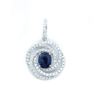 Swirl Sapphire and Diamond Pendant - Johnny Jewelry