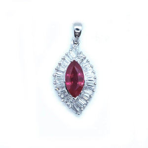 Swirl Ruby and Diamond Pendant