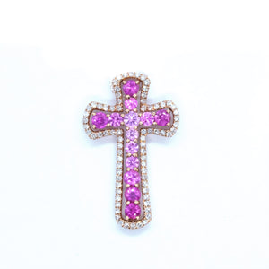 Victorian Style Pink Sapphire & Diamond Cross - Johnny Jewelry