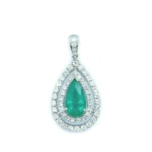 Emerald & Diamond Double Halo Drop Pendant - Johnny Jewelry
