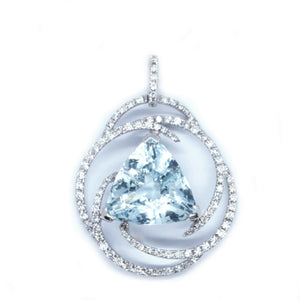 Swirl Aquamarine & Diamond Pendant