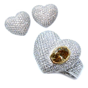 Pave Diamond Heart Set - Johnny Jewelry