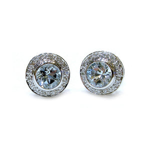 Pave Halo Aquamarine Studs - Johnny Jewelry