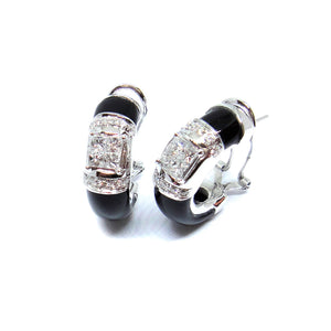 Princess Cut Diamond & Onyx Earrings - Johnny Jewelry