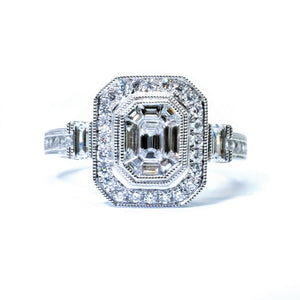Art Deco Illusion Set Emerald Cut Diamond Ring