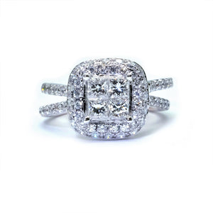 Diva Illusion Set Princess Cut Diamond Ring - Johnny Jewelry