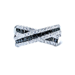 Criss Cross Black & White Diamond Ring