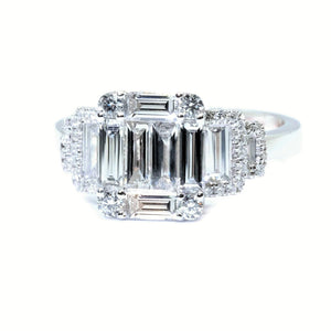 Art Deco Trilogy Illusion Set Emerald Cut Diamond Ring - Johnny Jewelry