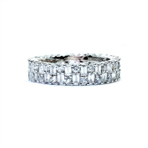 Art Deco Baguette & Round Diamond Eternity Band - Johnny Jewelry