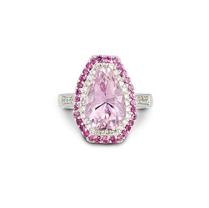 Kunzite & Pink Sapphire Double Halo Ring - Johnny Jewelry