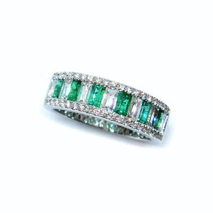 Diva Emerald & Baguette Diamond Ring - Johnny Jewelry