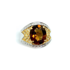 Cognac Topaz & Diamond Cocktail Ring - Johnny Jewelry