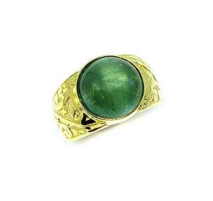 Cabochon Green Tourmaline Ring - Johnny Jewelry
