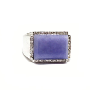 Art Deco Lavender Jade & Diamond Ring