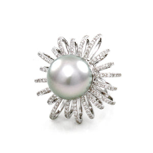 South Sea Pearl & Diamond Cocktail Ring - Johnny Jewelry