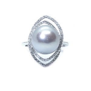 Double Loop Pearl & Diamond Ring - Johnny Jewelry