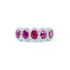 Bubble Ruby & Diamond Ring - Johnny Jewelry