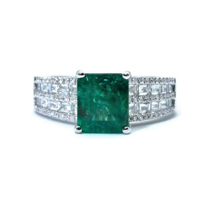 Art Deco Emerald & Baguette Diamond Ring - Johnny Jewelry