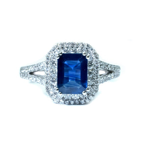Emerald Cut Sapphire & Diamond Double Halo Ring - Johnny Jewelry