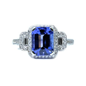 Art Deco Trilogy Tanzanite & Diamond Ring