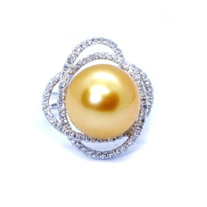 Galaxy Golden South Sea Pearl & Diamond Ring - Johnny Jewelry