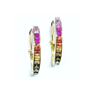 Rainbow Sapphire Hoops - Johnny Jewelry