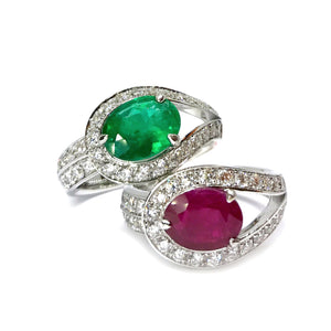 Raindrop Ruby & Emerald Cocktail Ring - Johnny Jewelry
