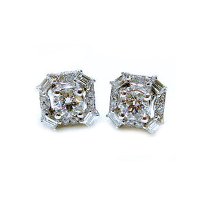 Round & Baguette Diamond Studs - Johnny Jewelry