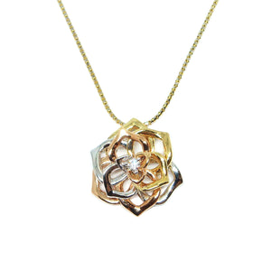 Tri-color Rose Pendant - Johnny Jewelry