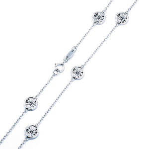 Bezel Set Diamond Cut Sixteen Diamond Station Necklace