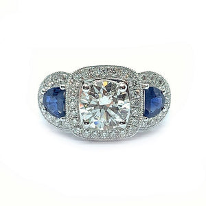 Vintage Style Round Diamond & Sapphire Trilogy Ring - Johnny Jewelry