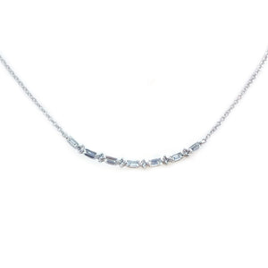 Baguette & Round Diamond Bar Necklace