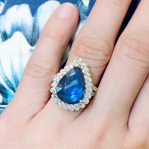 Lacy Teardrop Sapphire & Diamond Ring - Johnny Jewelry